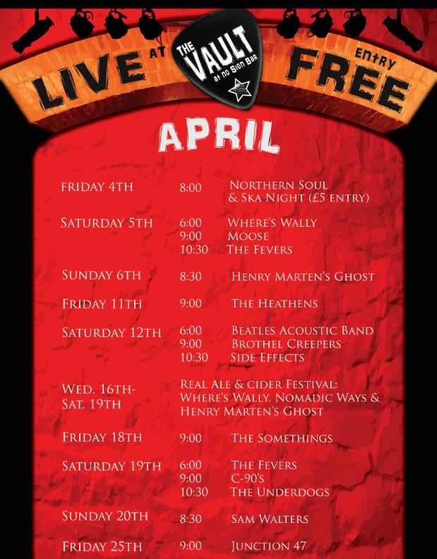 The Vault Swansea | Live Music Listings | April 2014