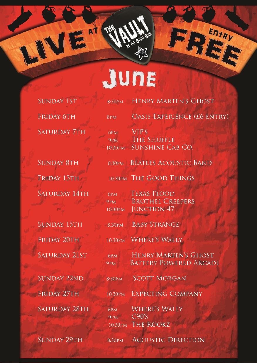Live Music Listings | June 2014 | The Vault Swansea