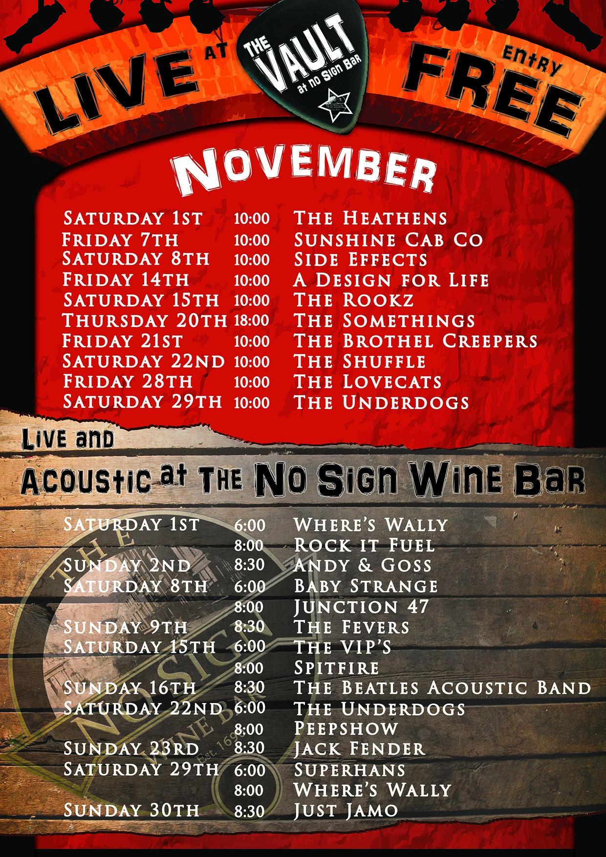 Live Music Listings | November 2014 | The Vault Swansea