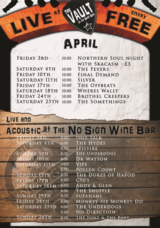 Live Music Listings | April | 2015