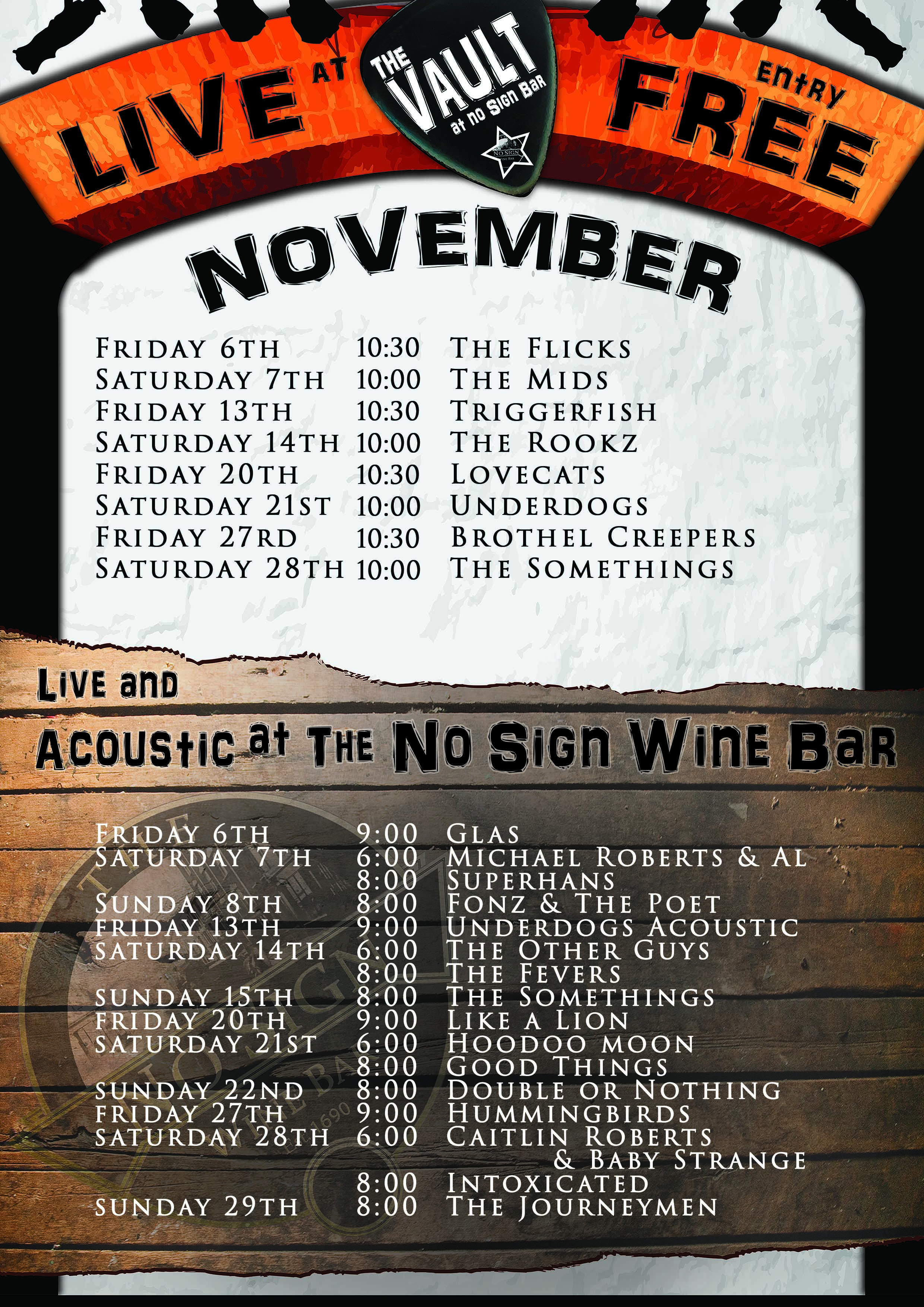 November Band Listings – The Vault – No Sign Bar – Swansea