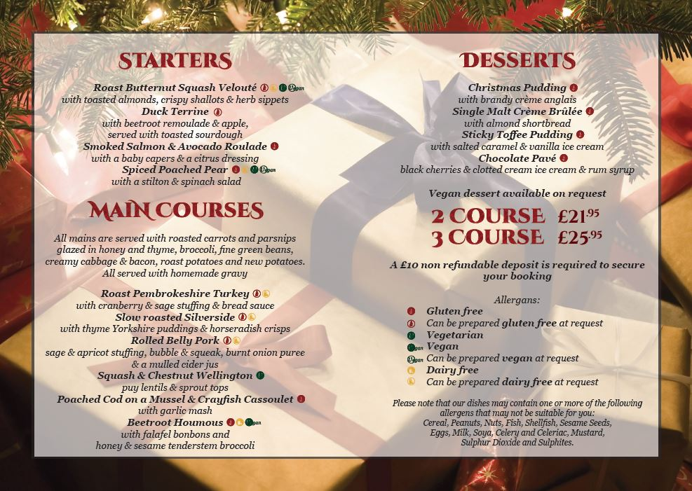 Christmas Menu.Christmas Menu 2019 No Sign Bar